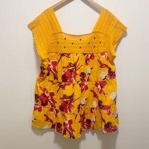 Lane Bryant Yellow Floral Ruffle and Crochet Shirt